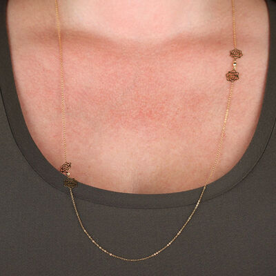 Rose Station Necklace Chain 14K