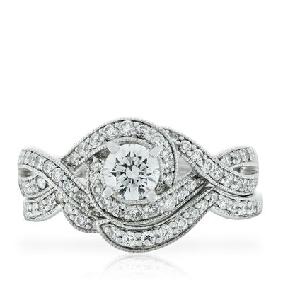Crossover Diamond Bridal Set 14K