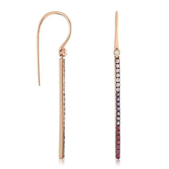 Rose Gold Multi-Gemstone & Diamond Bar Drop Earrings 14K