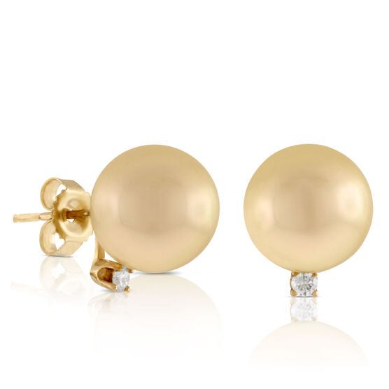 Cultured Golden South Sea Pearl & Diamond Earrings 14K