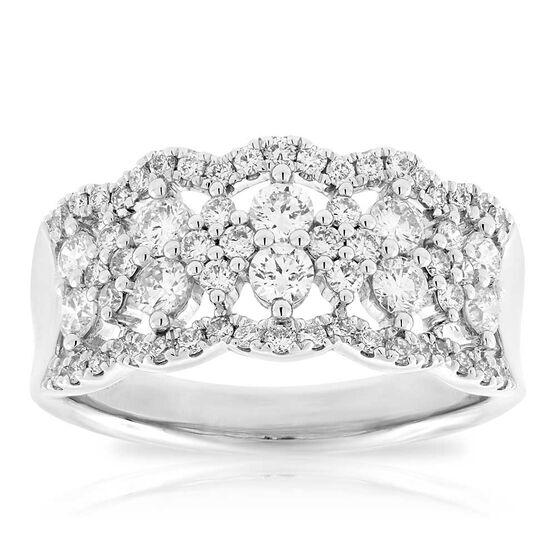 Openwork Scalloped Diamond Ring 14K