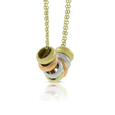 Tri-Color Rings Necklace 14K
