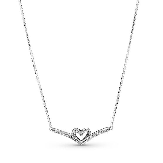 Pandora Sparkling Wishbone Heart CZ Collier Necklace