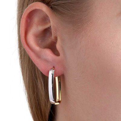Two-Tone Bypass Hoop Earrings 14K