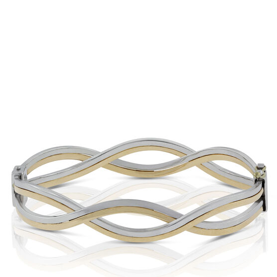 Toscano Two-tone Wave Bangle Bracelet 18K