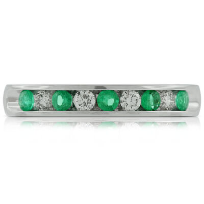 Emerald & Diamond Band 14K