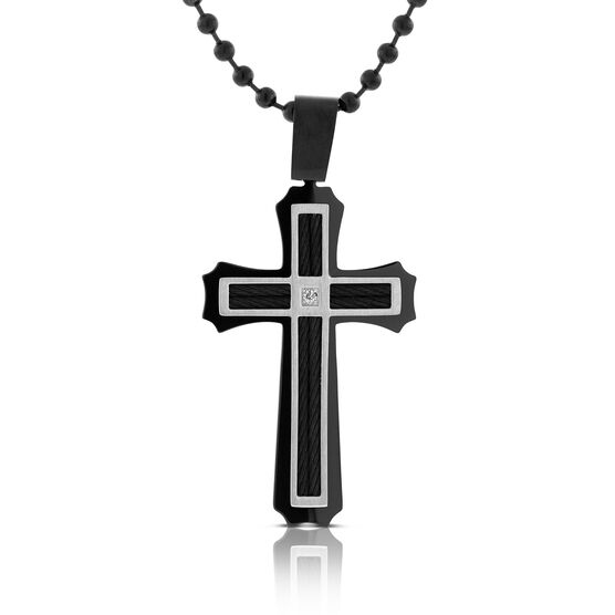 Men's Black Cross with Diamond Necklace in Sterling Silver
