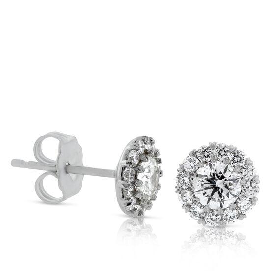 Diamond Halo Cupcake Earrings 14K, 1 ctw.