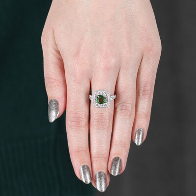 Tsavorite & Diamond Halo Ring 14K