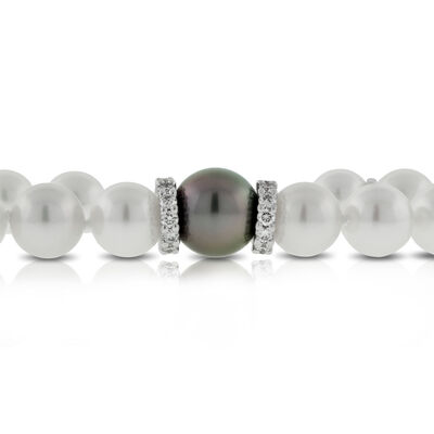 Mikimoto Akoya & Black South Sea Cultured Pearl Bracelet, 18K