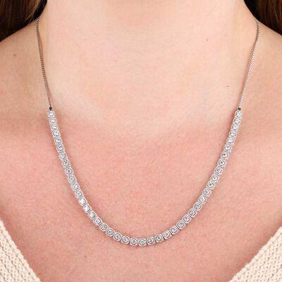 Diamond Milgrain Square Link Necklace 14K, 3.7 ctw.