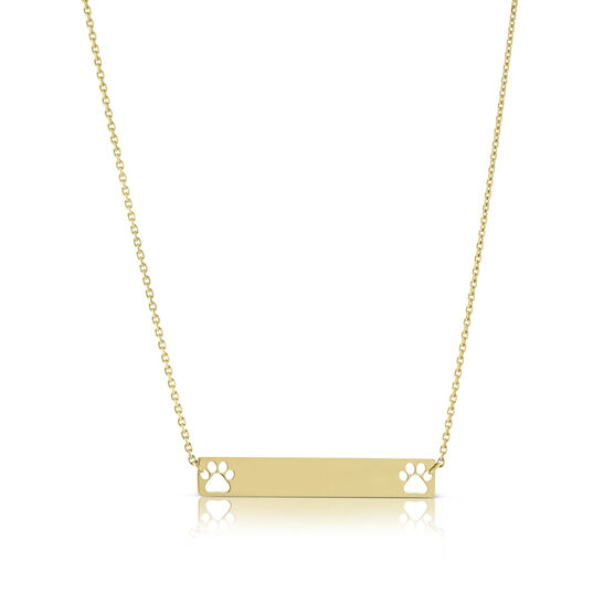 Paw Print Cut Out Mini Bar Necklace 14K