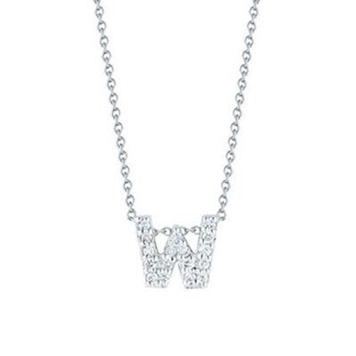 Roberto Coin Tiny Treasures Diamond Initial Pendant 18K Letter 'W'
