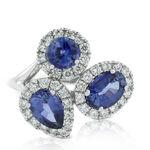 Sapphire & Diamond Cluster Ring 14K