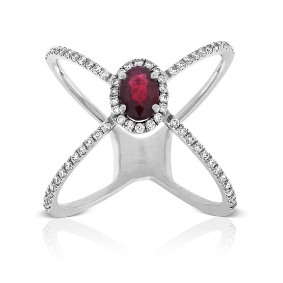 Ruby & Diamond Criss Cross Ring 14K