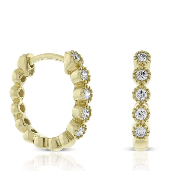 Bezel Set Diamond Huggie Hoop Earrings 14K