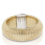 """Toscano Domed Tubogas Two-Tone Bracelet, 8"""" 18K"""