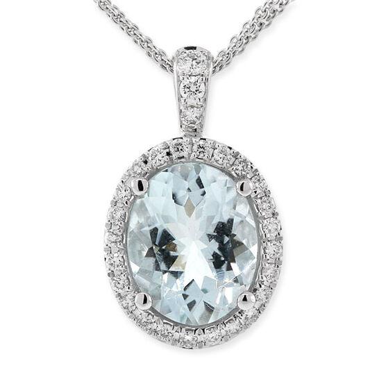 Aquamarine & Diamond Pendant 18K