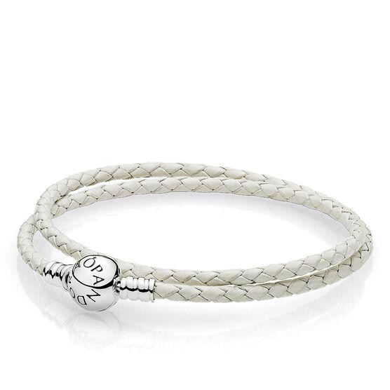 Pandora Ivory White Double Leather Bracelet