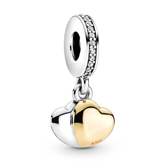 Pandora Two-Tone Double Heart CZ Dangle Charm, 14K & Silver