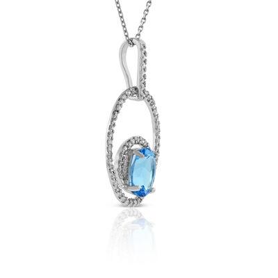 Oval Blue Topaz & Diamond Necklace 14K