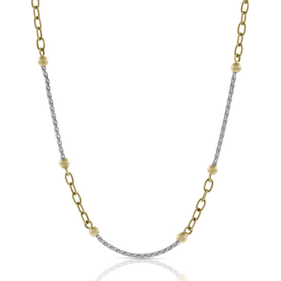 Two-Tone Bead Link Necklace 14K