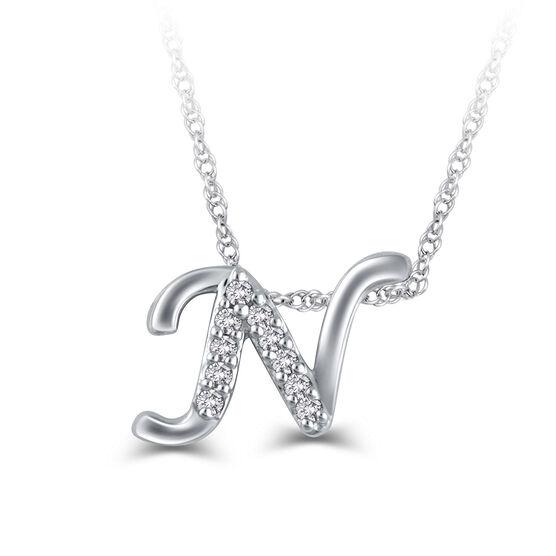 "Diamond ""N"" Initial Pendant 14K"