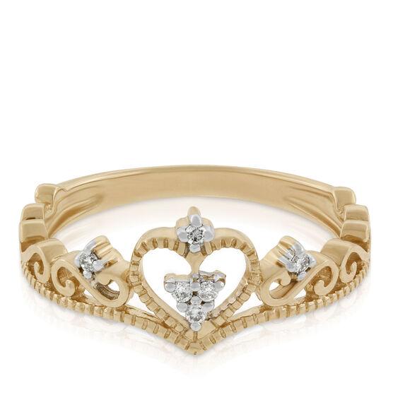Diamond Heart Crown Ring 14K