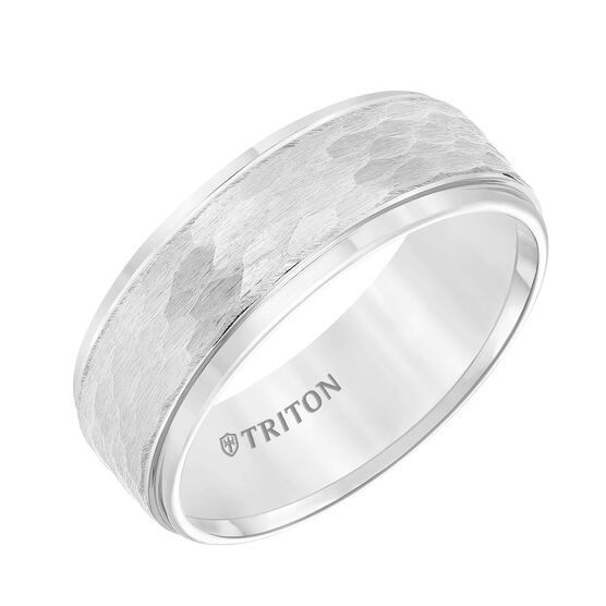 TRITON Hammered White Tungsten Band