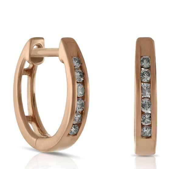 Rose Gold Diamond Hoop Earrings 14K, 1/10 ctw.