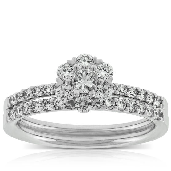 Princess Cut Diamond Wedding Set 14K
