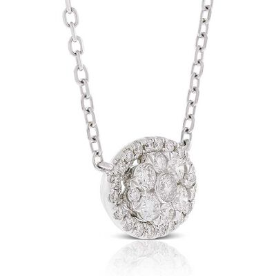Diamond Cluster Oval Necklace 14K
