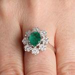 Emerald & Diamond Bold Halo Ring 14K