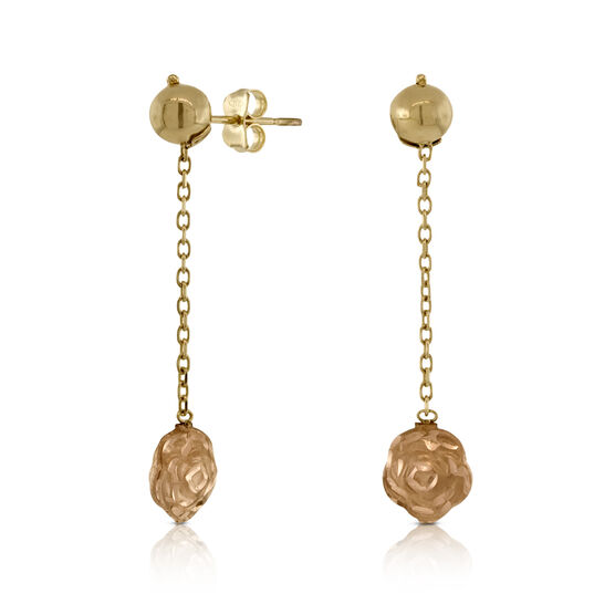 Dangle Rose Earrings 14K