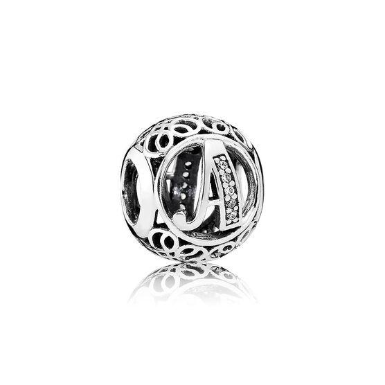 PANDORA CZ Vintage Design  'A' Charm