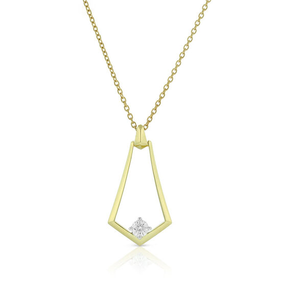 Jade Trau for Signature Forevermark Diamond Open Sheild Necklace 18K