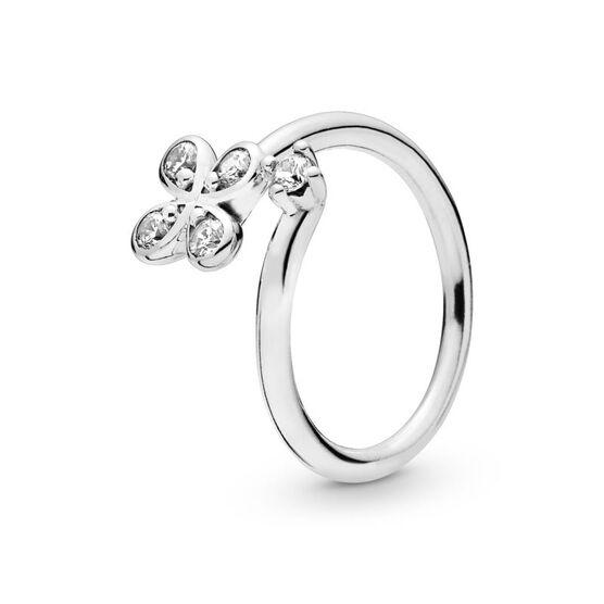 Pandora Four Petal Flowers Twisted CZ Ring