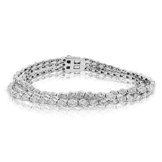 Graduated 3 Row Diamond Tennis Bracelet 14K, 8 ctw.