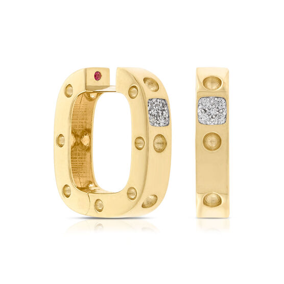 Roberto Coin Diamond Square Hoop Earrings 18K