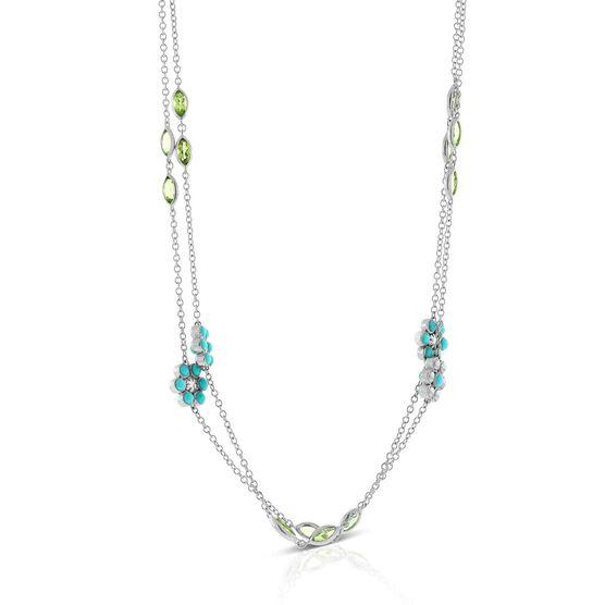Lisa Bridge Turquoise & Peridot Flower Station Necklace
