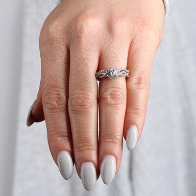 Emerald Cut Diamond Wedding Set 14K
