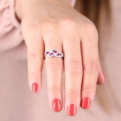 Ruby & Diamond Halo Leaf Ring 14K