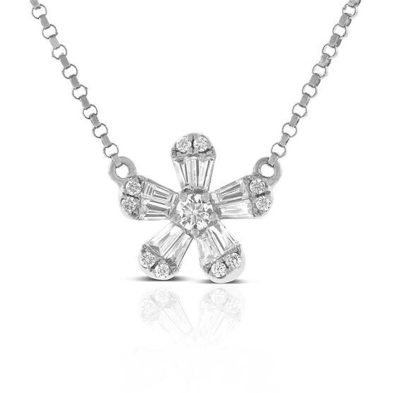 Five Petal Diamond Flower Necklace 14K