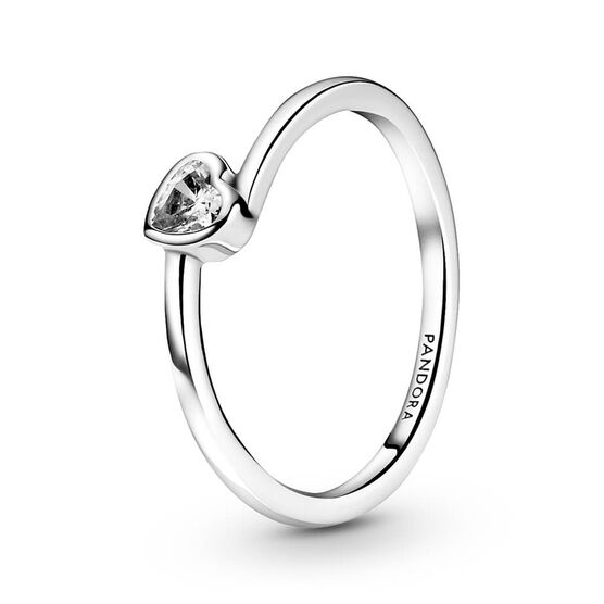 Pandora Clear Tilted Heart Solitaire CZ Ring