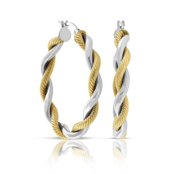 Twisted Hoop Two-Tone Earrings 14K
