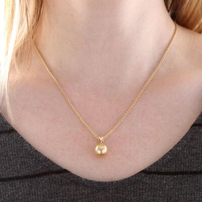 Cultured Golden South Sea Pearl Pendant 11mm, 18K