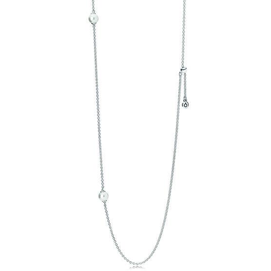 Pandora Luminous Dainty Droplets, Crystal Pearl Necklace