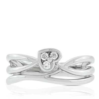 Diamond Heart Wrap Ring 14K