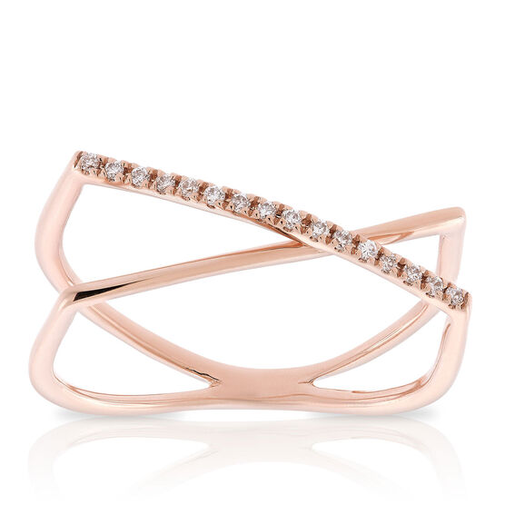 Rose Gold Diamond Crossover Ring 14K, Size 7