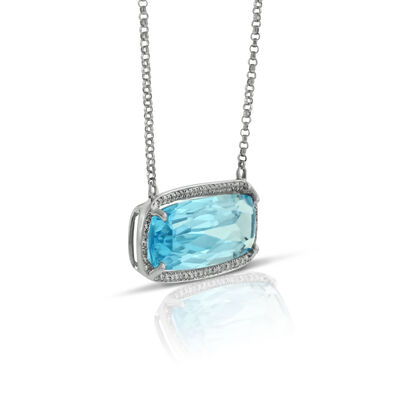 Cushion Blue Topaz & Diamond Necklace 14K